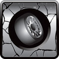 Tires on cracked web icon Stock Photography