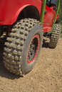 Tires of the offroad car closeup view on all potential trademarks are removed Royalty Free Stock Photography