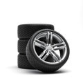 Tires and rims automobile wheels on a white background Stock Images
