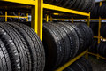 Tires for sale at a tire store Royalty Free Stock Images