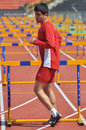 Tirkish runner between barriers photo was taken during the junior team of ukrainian championship in athletics countries ukraine Royalty Free Stock Image