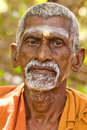 Tiruvanamalai india january holy sadhu men in saffron color clothing blessing in shiva temple january in india tamil nadu Royalty Free Stock Image