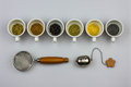 Tisane ingredients with strainers Royalty Free Stock Photo