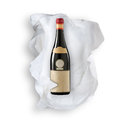 Tissue Paper and wine bottle Stock Photo