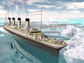 Titanic ship d render famous floating among icebergs on the water by cloudy day Royalty Free Stock Photography