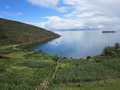 Titicaca lake bolivia view of border of and peru Stock Photo