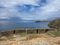 Titicaca lake bolivia view of border of and peru Stock Photography