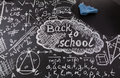 Title Back to school, formulas written by white chalk on the black school chalkboard and blue rag for erasing
