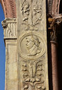 Titus effigy on loggia del consiglio in the center of verona emperor from corner a beautiful example reinassance art and Royalty Free Stock Photos