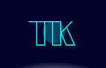 tk t k blue line circle alphabet letter logo icon template vecto
