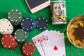 To ace heart straight flush on poker and casino chips money green table Stock Images