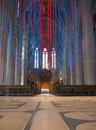 To the altar inside grace cathedral meditational labyrinth in foreground colorful ribbons hanging from ceiling Royalty Free Stock Images
