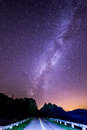 To another galaxy an image of the milky way rising above the roads of the blue ridge parkway Stock Photos