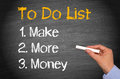 To do list black chalkboard with text graphic of with enumerated of make more money with a woman s hand holding a piece of Stock Photos