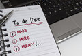 To do list handwritten concept on notebook Stock Photo