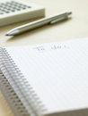 To do list notebook with pen cyan blue tint Stock Photos