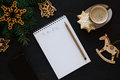To do list with xmas decorations Royalty Free Stock Photo