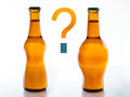 To drink beer fattening or slimming bottles of one with slim silhouette and one with belly so there is a question mark Stock Photography
