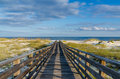 To the gulf a wooden walkway of mexico on alabama coast Stock Images