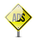 To many ads road sign illustration design over a white background Stock Photo
