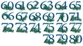 To number set of to peacock numbers pieces all are different from each other you can get the whole in chunks png Royalty Free Stock Images
