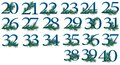 To number set of to peacock numbers pieces all are different from each other you can get the whole in chunks png Stock Photo
