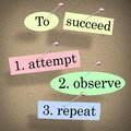 To succeed attempt observe repeat quote saying bulletin board and or pinned a with pushpins illustrate determination and Royalty Free Stock Photography