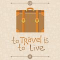 To travel is to live vector card in flat retro style Royalty Free Stock Photos