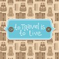 To travel is to live vector card in flat retro style Stock Photography