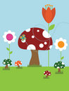 Toadstool landscape Royalty Free Stock Photo