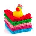 Toallas coloridas con el pato del baño Foto de archivo libre de regalías