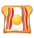 Toast with bacon and egg vector illustration Royalty Free Stock Photo