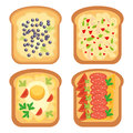 Toast bread meal snack lunch sandwich vector illustration