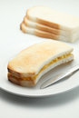 Toast bread two pieces of toasted with butter Royalty Free Stock Photo