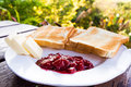 Toast with butter and jam Royalty Free Stock Images