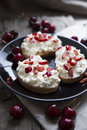 Toast with  cheese and cherries Royalty Free Stock Photo