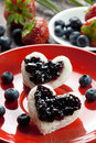 Toast hearts with fresh jam Royalty Free Stock Photography
