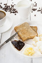 Toast and jam for breakfast on white table wooden Stock Photos