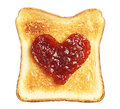 Toast with jam in shape of hearts isolated on white background Stock Photo