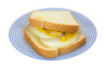Toast with onions and mustard on plate an onion sandwich atop a blue striped Stock Photo