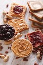 Toast with peanut butter and jelly close-up. vertical Royalty Free Stock Photo