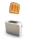 Toast popping out of a toaster breakfast concept on white background Royalty Free Stock Image