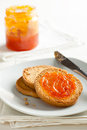 Toasted Bread with Apricot Jam Royalty Free Stock Photos