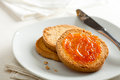 Toasted Bread with Apricot Jam Royalty Free Stock Image