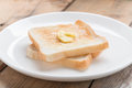 Toasted bread with butter. Royalty Free Stock Photo