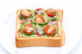 Toasted bread with cheese sliced salami green pepper and tomato Royalty Free Stock Photo