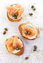 Toasted bread with cream cheese and salmon fillet Royalty Free Stock Photo