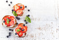 Toasted bread with cream cheese and strawberries Royalty Free Stock Photo