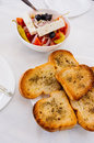 Toasted bread with olive oil and tomato salad cheese Royalty Free Stock Photo