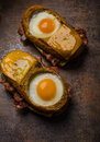 Toasted cheese bread with egg inside Royalty Free Stock Photo